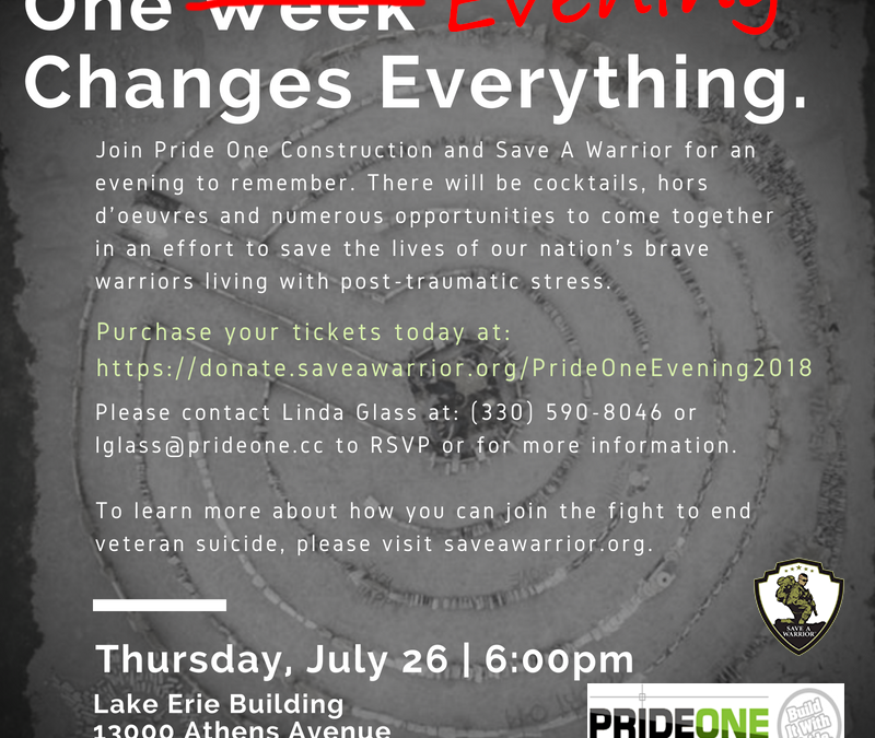 Join Pride One for the Save A Warrior Benefit